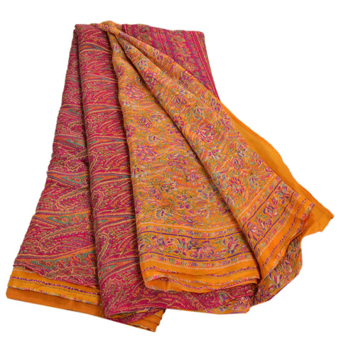 Antique Vintage 100% Pure Silk Saree Yellow Paisley Printed Sari Craft Fabric - StompMarket