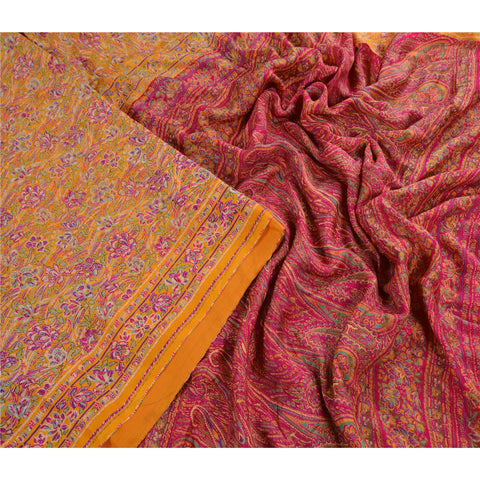 Antique Vintage 100% Pure Silk Saree Yellow Paisley Printed Sari Craft Fabric