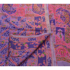 Antique Vintage 100% Pure Silk Saree Purple Printed Sari Craft 5 Yard Fabric - StompMarket