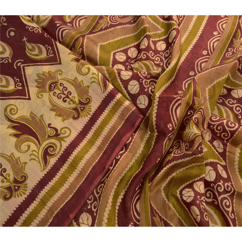 Antique Vintage 100% Pure Silk Saree Dark Red Printed Sari Craft Decor Fabric