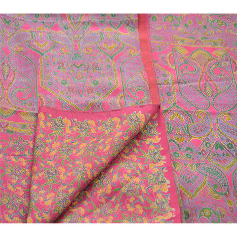 Antique Vintage 100% Pure Silk Saree Pink Paisley Printed Sari Craft Fabric