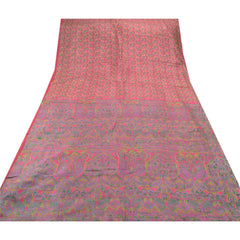 Antique Vintage 100% Pure Silk Saree Pink Paisley Printed Sari Craft Fabric - StompMarket