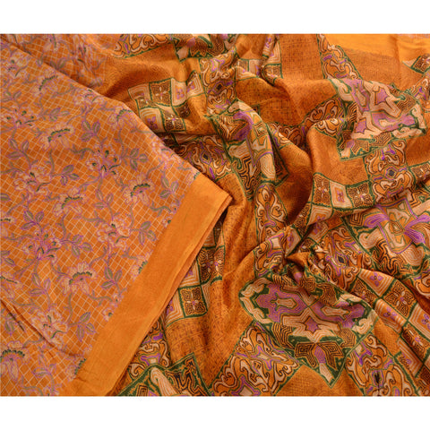 Antique Vintage 100% Pure Silk Saree Yellow Printed Sari Craft 5 Yard Fabric