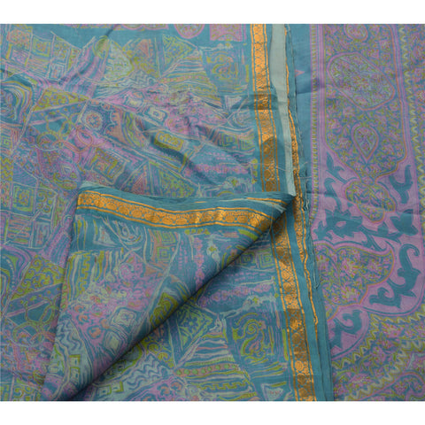 Antique Vintage Printed Saree 100% Pure Silk Craft Blue Fabric Zari Border Sari