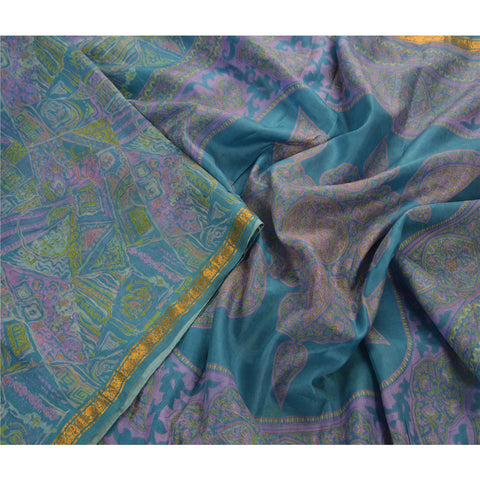 Antique Vintage Printed Saree 100% Pure Silk Craft Blue Fabric Zari Border Sari - StompMarket