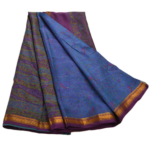 Vintage Indian Printed Saree 100% Pure Silk Craft Blue Fabric Zari Border Sari