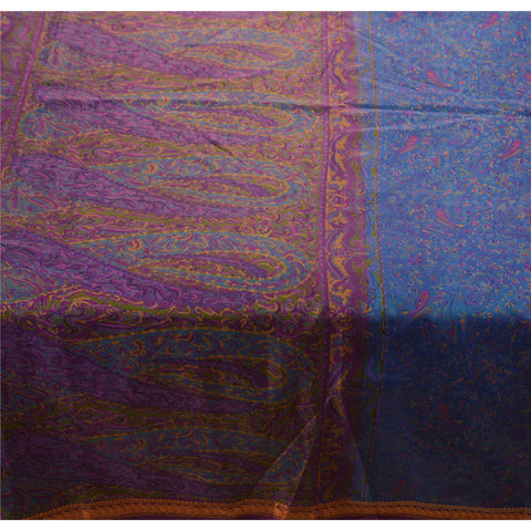 Vintage Indian Printed Saree 100% Pure Silk Craft Blue Fabric Zari Border Sari - StompMarket