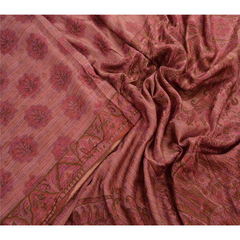 Antique Vintage 100% Pure Silk Saree Pink Printed Sari Craft Fabric