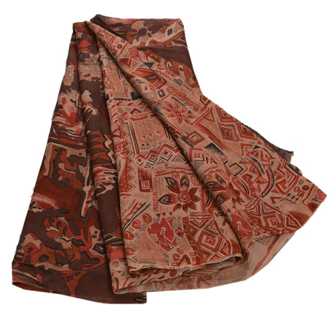Antique Vintage Printed Saree 100% Pure Silk Craft Brown Fabric Zari Border Sari - StompMarket