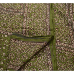 Antique Vintage 100% Pure Silk Saree Green Printed Sari Craft Decor Fabric - StompMarket
