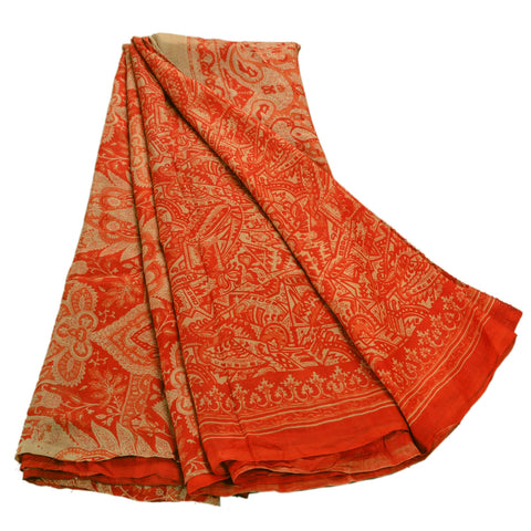 Antique Vintage 100% Pure Silk Saree Orange Printed Sari Craft Decor Fabric