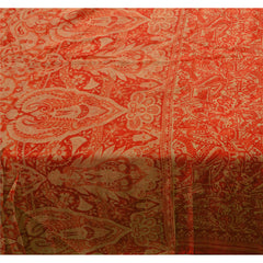 Antique Vintage 100% Pure Silk Saree Orange Printed Sari Craft Decor Fabric - StompMarket