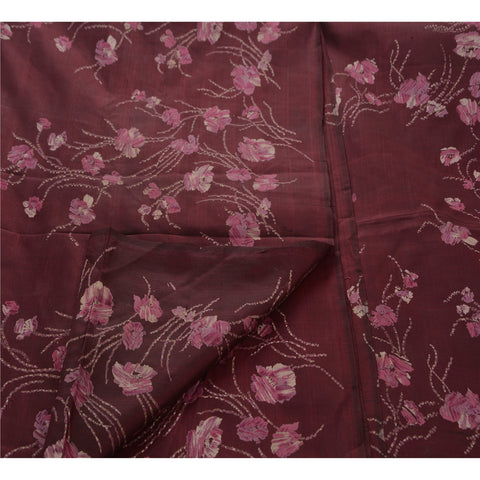 Antique Vintage Indian 100% Pure Silk Saree Printed Sari Dark Red Craft Fabric - StompMarket
