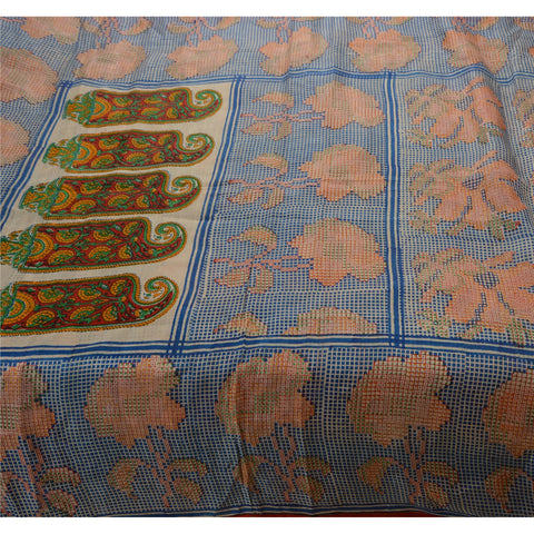 Antique Vintage 100% Pure Silk Saree Printed Blue Sari Craft Fabric