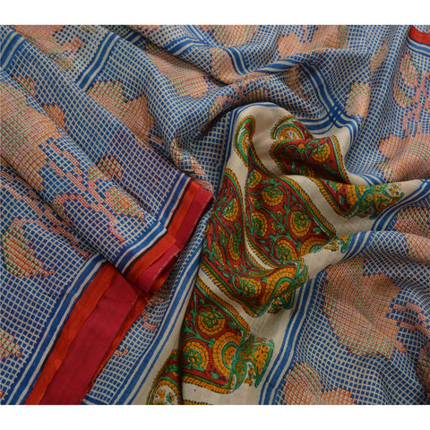 Antique Vintage 100% Pure Silk Saree Printed Blue Sari Craft Fabric - StompMarket