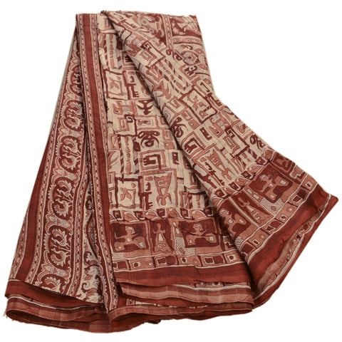 Antique Vintage 100% Pure Silk Saree Cream Printed Sari Craft Fabric - StompMarket