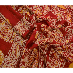 Antique Vintage 100% Pure Silk Batik Saree Yellow Printed Sari Craft Fabric - StompMarket
