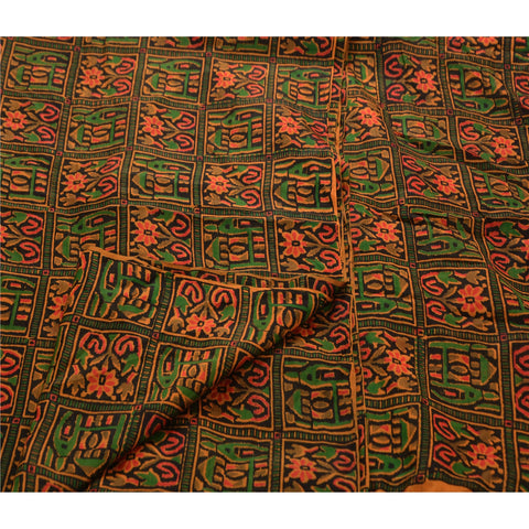 Antique Vintage 100% Pure Silk Saree Black Printed Sari Craft Decor Fabric - StompMarket