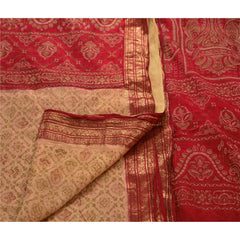 Antique Vintage 100% Pure Silk Saree Printed Cream Zari Border Sari Craft Fabric - StompMarket