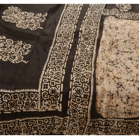 Antique Vintage 100% Pure Silk Saree Printed Cream Batik Sari Craft Fabric - StompMarket