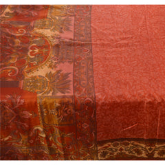 Antique Vintage 100% Pure Silk Saree Orange Floral Printed Sari Craft Fabric - StompMarket
