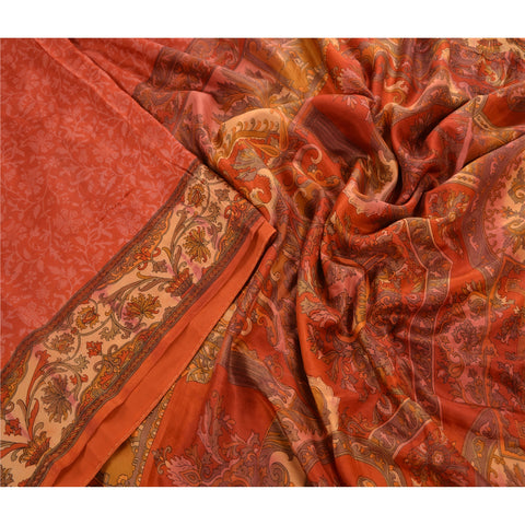 Antique Vintage 100% Pure Silk Saree Orange Floral Printed Sari Craft Fabric