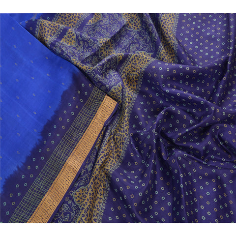 Antique Vintage 100% Pure Silk Saree Blue Printed Sari Craft Fabric