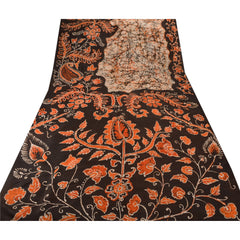 Antique Vintage 100% Pure Silk Batik Saree Black Printed Sari Craft Fabric - StompMarket