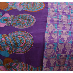 Antique Vintage 100% Pure Silk Saree Purple Printed Sari Craft Fabric - StompMarket