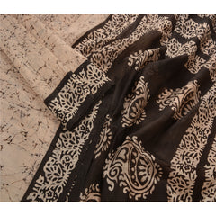 Antique Vintage 100% Pure Silk Batik Saree Cream Printed Sari Craft Fabric - StompMarket