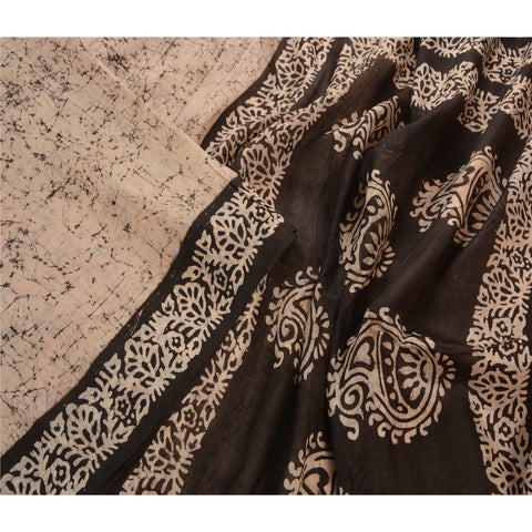 Antique Vintage 100% Pure Silk Batik Saree Cream Printed Sari Craft Fabric