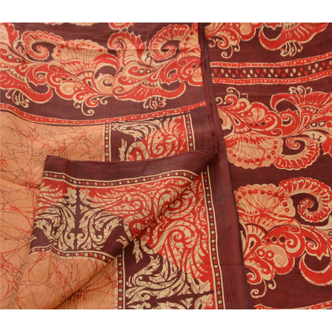 Antique Vintage 100% Pure Silk Batik Saree Peach Printed Sari Craft Fabric - StompMarket