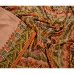 Antique Vintage 100% Pure Silk Saree Peach Printed Sari Craft Decor Fabric - StompMarket