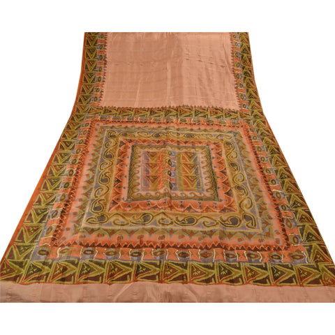 Antique Vintage 100% Pure Silk Saree Peach Printed Sari Craft Decor Fabric