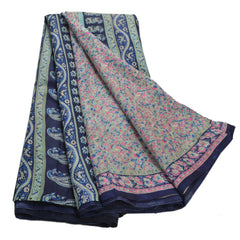 Antique Vintage 100% Pure Silk Saree Blue Printed Sari Craft Decor Fabric - StompMarket
