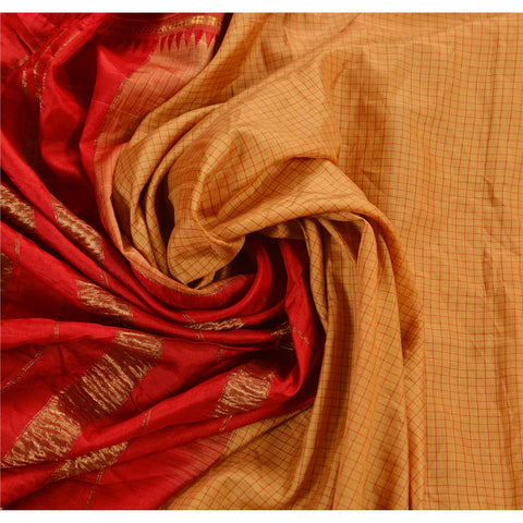 Vintage Woven Saree 100% Pure Silk Craft Red Fabric Zari Border Sari