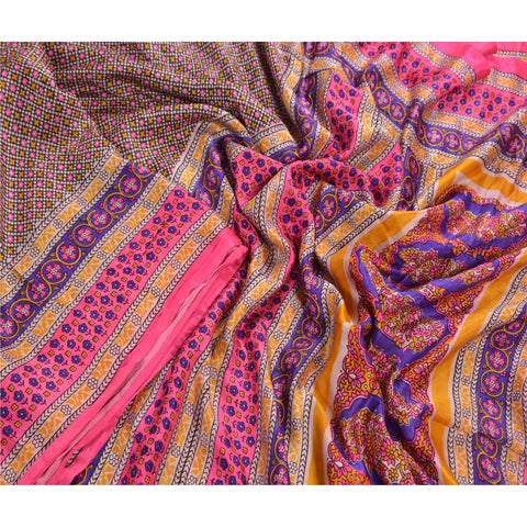 Antique Vintage Pure Satin Silk Saree Multi Color Printed Sari Craft Fabric