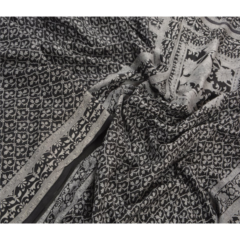 Antique Vintage 100% Pure Silk Saree Black Floral Printed Sari Craft Fabric