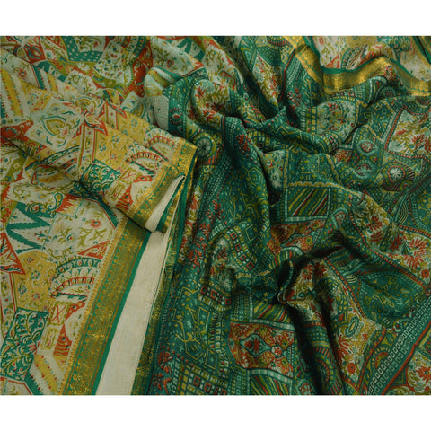 Antique Vintage Printed Saree 100% Pure Silk Craft Green Fabric Zari Border Sari