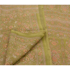 Antique Vintage 100% Pure Silk Saree Green Floral Printed Sari Craft Fabric