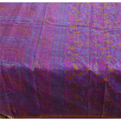 Antique Vintage  Printed Saree Pure Silk Craft Purple Fabric Zari Border Sari