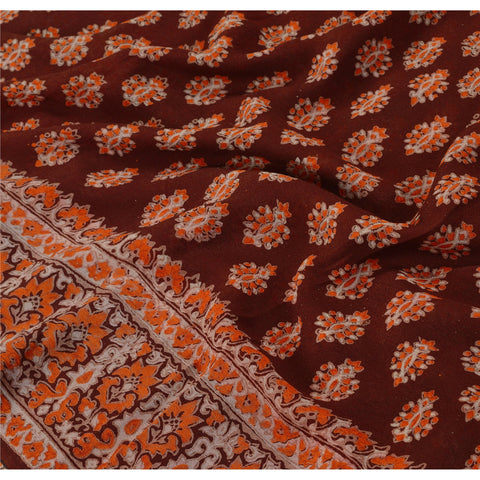 Vintage Indian Printed 100% Pure Georgette Silk Saree Brown Sari Craft Fabric - StompMarket