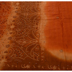 Antique Vintage Indian Saree 100% Pure Silk Hand Embroidered Craft Fabric Sari - StompMarket