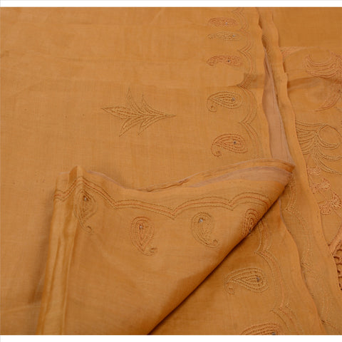 Antique Vintage Indian Saree 100% Pure Silk Hand Beaded Saffron Fabric Sari