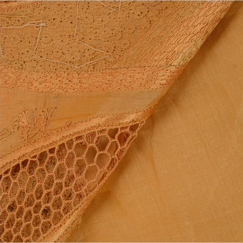 Antique Vintage Indian Saree 100% Pure Silk Hand Beaded Saffron Fabric Sari - StompMarket