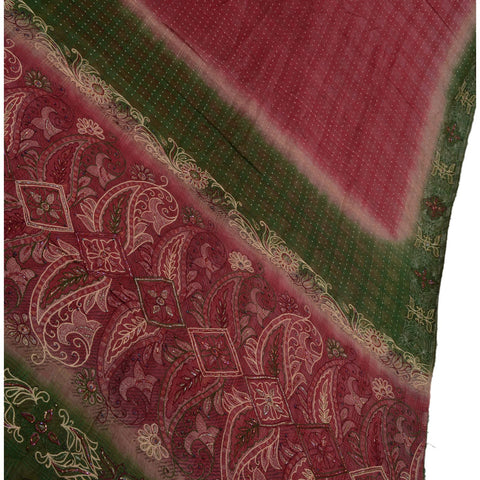 Antique Vintage Indian Saree 100% Pure Silk Hand Beaded Painted Fabric Sari - StompMarket