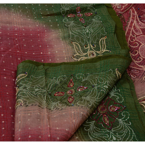 Antique Vintage Indian Saree 100% Pure Silk Hand Beaded Painted Fabric Sari