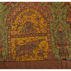 Antique Vintage Indian Saree 100% Pure Silk Hand Beaded Green Fabric Sari Bird - StompMarket