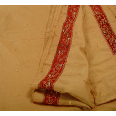 Antique Vintage Indian Saree 100% Pure Silk Hand Beaded Fabric Sari Parrot - StompMarket