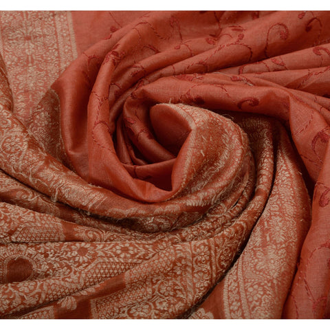 Antique Vintage Indian Saree 100% Pure Silk Woven Embroidered Peach Fabric Sari - StompMarket